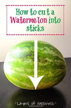 How to cut a watermelon into sticks!  The perfect way to serve watermelon at your next barbecue! #summer #fruit
