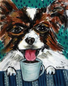 PAPILLON at the coffee shop POSTER dog pet art print 8x10