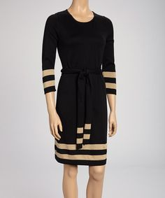 Take a look at this Black & Camel Stripe Dress by Nina Leonard on #zulily today!