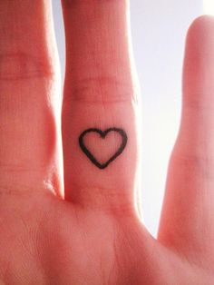 """Heart tattoo inside finger. I Love Tattoos That Are Kind Of """"Hidden"""" Like Behind The Ear, On The Ankle Or Wrist, Inside The Finger Ect."""