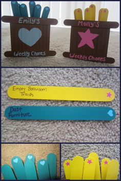 Weekly Chores for Kids. We wrote age-appropriate chores on popsicle sticks. Chores that need to be done have a sticker. When the chore is completed, the stick goes back in the holder, sticker side down.