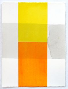 Color Blocks / Ink Wash (1)-- an original painting on paper from flatfile @Etsy