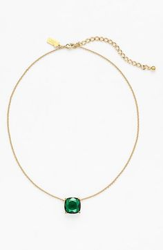 Pretty! Adore this emerald stone pendant necklace.