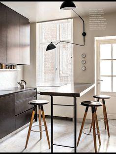 Serge Mouille Lamp, modern industrial kitchen.