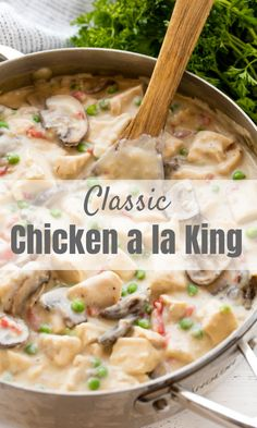 Classic Chicken a la King is rich and creamy and made from scratch. This easy dinner recipe is great served over rice, pasta, toast, or biscuits!