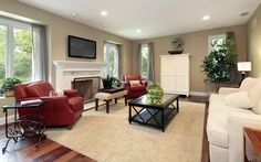 cream and red furniture