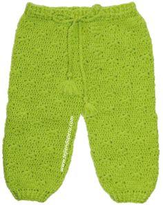 Pantaloncito para bebé tejido a crochet.