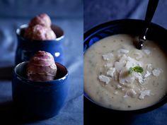 Zuppa di carciofi di Gerusalemme e patate, con pecorino e menta