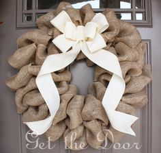 Too much Burlap?    Burlap Wreath with Cream Bow,  Burlap Wreath, Christmas Wreath. $50.00, via Etsy.