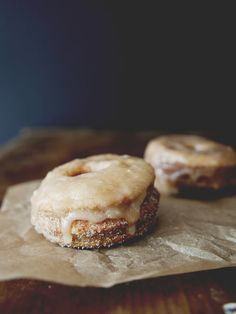 Puff pastry donuts with cinnamon sugar and maple glaze.
