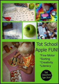 The Educators' Spin On It: Tot School - Apple Learning Activities and FUN 21 months