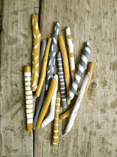 Painted driftwood sticks, gray, grey, yellow, gold, 15 pieces painted driftwood, lightly distressed, nautical