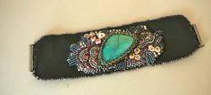 turquoise bead embroidery | triangular turquoise is accented by keshi pearls, and bead embroidery ...