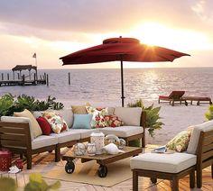 beaches, beach furniture, outdoor living, beach houses, garden furniture, patio, outdoor gardens, outdoor spaces, pottery barn