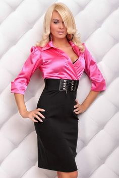 pink satin blouse with high waisted pencil skirt