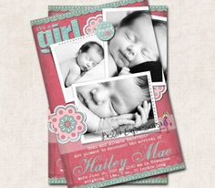 Baby Girl Birth Announcement/Thank You