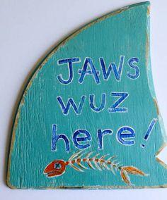 Custom Shark Sign Shark Decor on Distressed Wood by MangoSeed, $35.00