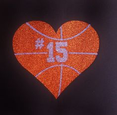 Women's Glitter Bling Basketball Heart With Custom Number Shirt on Etsy, $27.00