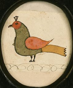 PENNSYLVANIA SCHOOL, 19th century,  Fraktur, watercolor and ink on paper, 3.5/8 x 2.7/8in.  |  http://www.christies.com/lotfinder/salebrowse.aspx?intSaleid=8691&viewType=listview