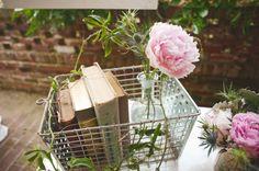 book centerpiece table decorations, vintage beauty, wedding ideas, flower vases, wire baskets, flowers, wedding centerpieces, outdoor weddings, old books