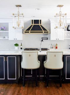 {before  after: a glammed out kitchen} kitchen stools, range hoods, glam kitchen, dream kitchens, white kitchens