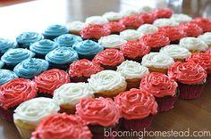 juli 4th, cupcakes, holiday aka, patriot holiday, bloom homestead, juli occas, homesteads, patriot cupcak, printabl