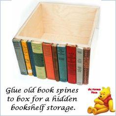 DIY Book shelf -- Glue old book spines to a box for a hidden bookshelf storage.