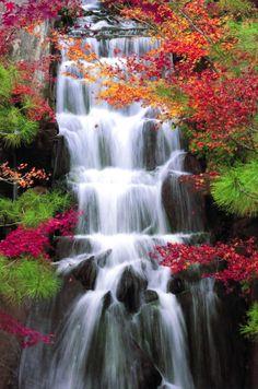 waterfalls, color blue, autumn, sankeien, japanese gardens, natur, beauti, travel, place