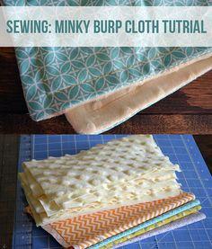 Minky Burp Cloth Sewing Tutorial via @Kelsey Myers of Poofy Cheeks