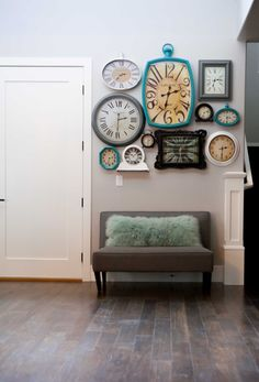 Clocks - use the temporary Command Hooks to hang clocks all over the party area and guest bathroom for New Years (fun!!). Start taking photos of the family at New Years Eve party to use as the clock backings or little photos at each number position for annual decor.