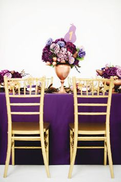 Purple & Gold Wedding Table Decorations and Floral Centerpiece