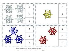 Winter: Students can practice their counting skills with this Snowflakes Count To 20 count and clip card math center activity. Students will count the snowflakes and clip a clothes pin on the correct number.   Print out the pages, laminate, and cut out the count and clip cards. You will need clothespins for this activity. Or, if you prefer, students can use dry erase markers to circle the correct number.