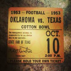 Perfect gift for gameday drinks. Football Ticket Coasters.™  Father's Day gift Ideas 2014. Set of four ceramic drink coasters made from an authentic ticket from the first win of the Oklahoma Sooners 47 straight wins. College football's longest win streak. #47straight #Oklahoma #Sooners #BoomerSooner
