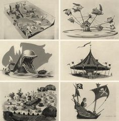 Disney artist Bruce Bushman's concept drawings for Disneyland: various ride concepts