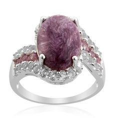 Liquidation Channel: Siberian Charoite, Rose De France Amethyst, and White Topaz Ring in Sterling Silver (Nickel Free)