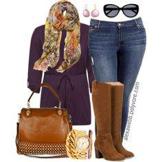 "#plus #size #outfit #Fall #fashion ""Plus Size - Purple Cardi"" by alexawebb on Polyvore"