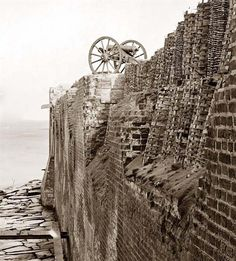 Charleston, S.C. Breach patched with gabions on the north wall of Fort Sumter.
