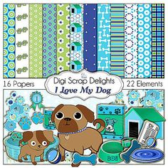 Dog Digital Scrapbook Kit I Love My Dog by DigiScrapDelights