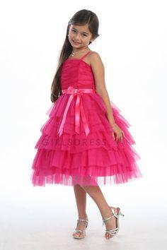 Multi Tiered Layer tulle flower girl dress G2974 $56.95 on www.GirlsDressLine.Com