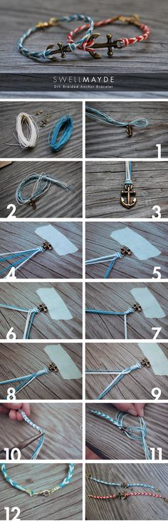 DIY Fishtail Braided Anchor Bracelet. I will do this before I go to California