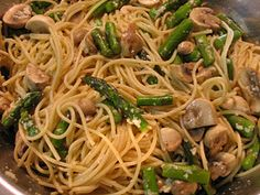 Pasta with Asparagus and Mushrooms. #recipe #dinner #cheap