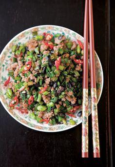 Garlic Chives with Pork (Cang Ying Tou)   SAVEUR