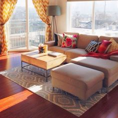 rug, couch, bright colors
