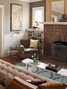 Warm grays make this modern living room a gorgeous setting: http://www.bhg.com/decorating/small-spaces/strategies/living-room-ideas/?socsrc=bhgpin02022014graylivingroom&page=10