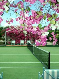 A pretty in pink tennis court!