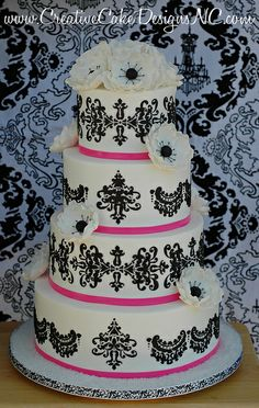 cake idea, pattern, cakes, chandeliers, cake boss, cake designs, black, anemones, vintage style