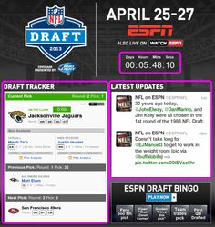 ESPN's email for the NFL Draft was full of agile elements. ESPN kept fans up-to-date with a dynamic clock counting down until the next draft round, real-time information on the current draft round, and live sports commentary from social media.