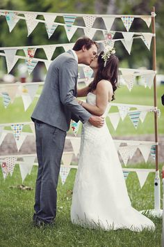 bunting. We need bunting at your wedding. Let's do muslin and burlap and a patterned bunting!!!