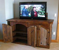 Rustic Barn Wood TV Lift Cabinet