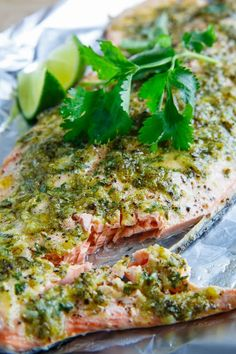 I love salmon and am always searching for a new way to prepare it. This cilantro and lime salmon looks fresh and zesty! [This pin description was written by Libbi Diane Flynn]